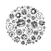 A lot of glossy metal cogwheels arranged in a circle shape isolated on white