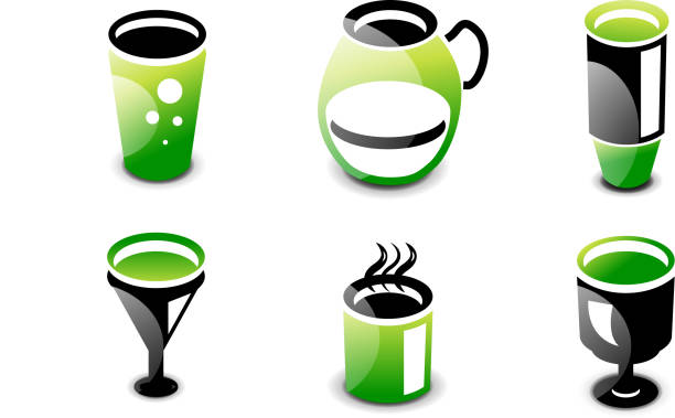 Glossy minimalistic drinks icons Set of green and black glossy minimalistic drink and beverage icons: tall glass, pitcher, vacuum bottle, cocktail and wine. drawing of a glass liquor flask stock illustrations