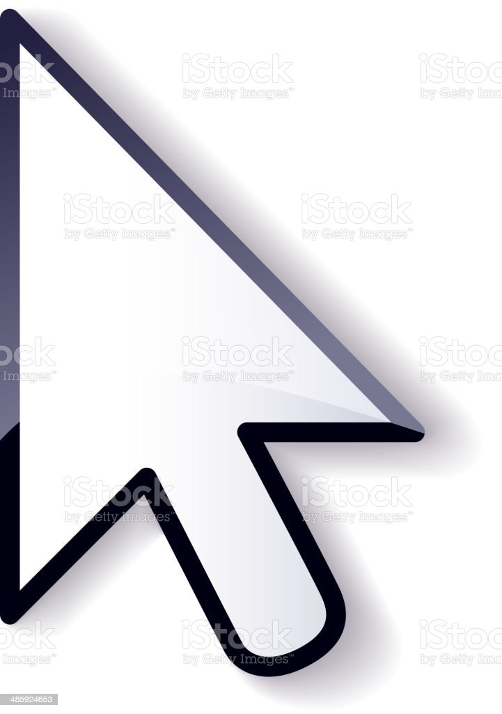 Glossy mouse arrow cursor isolated on white background. vector art illustration