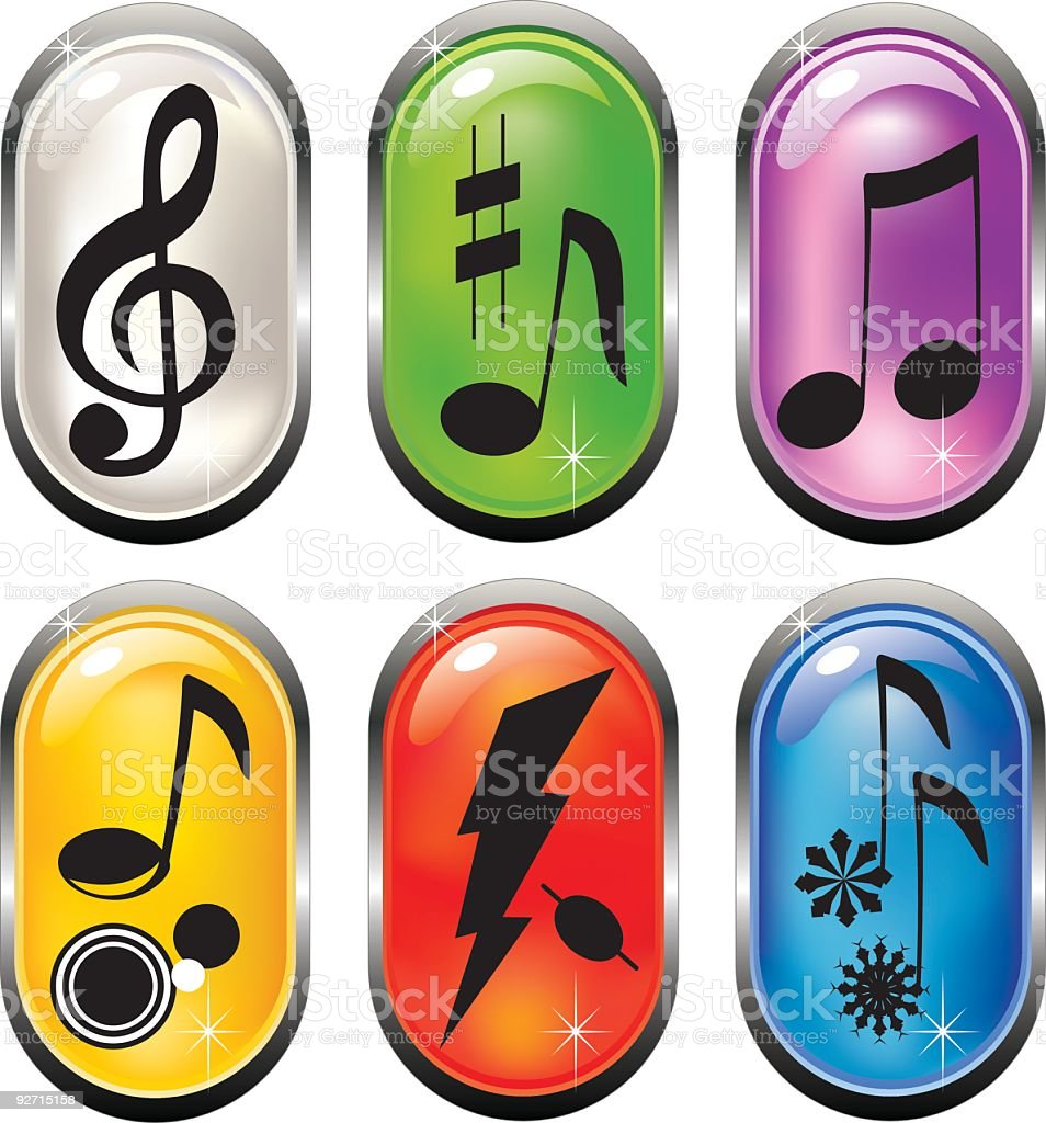 Glossy Music Buttons royalty-free stock vector art
