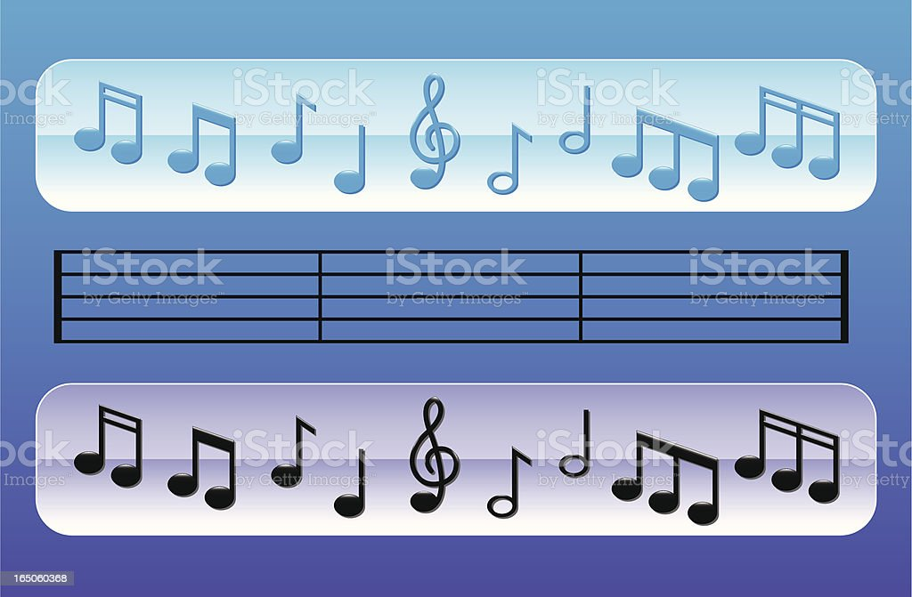 Glossy Music Notes royalty-free stock vector art