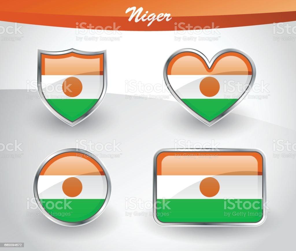 有光澤的尼日爾國旗圖示集 免版稅 有光澤的尼日爾國旗圖示集 向量插圖及更多 反射 圖片
