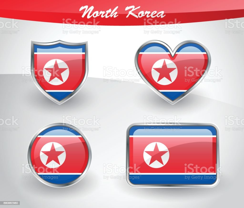 Glossy North Korea flag icon set royalty-free glossy north korea flag icon set stock vector art & more images of asia