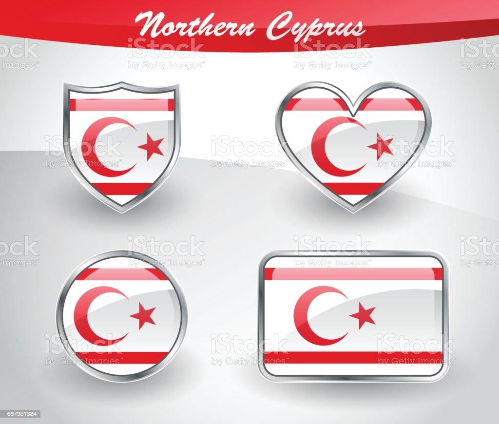 Parlak Kuzey Kıbrıs Türk Cumhuriyeti Bayrağı Icon Set Stok Vektör Sanatı &  Amblem'nin Daha Fazla Görseli - iStock