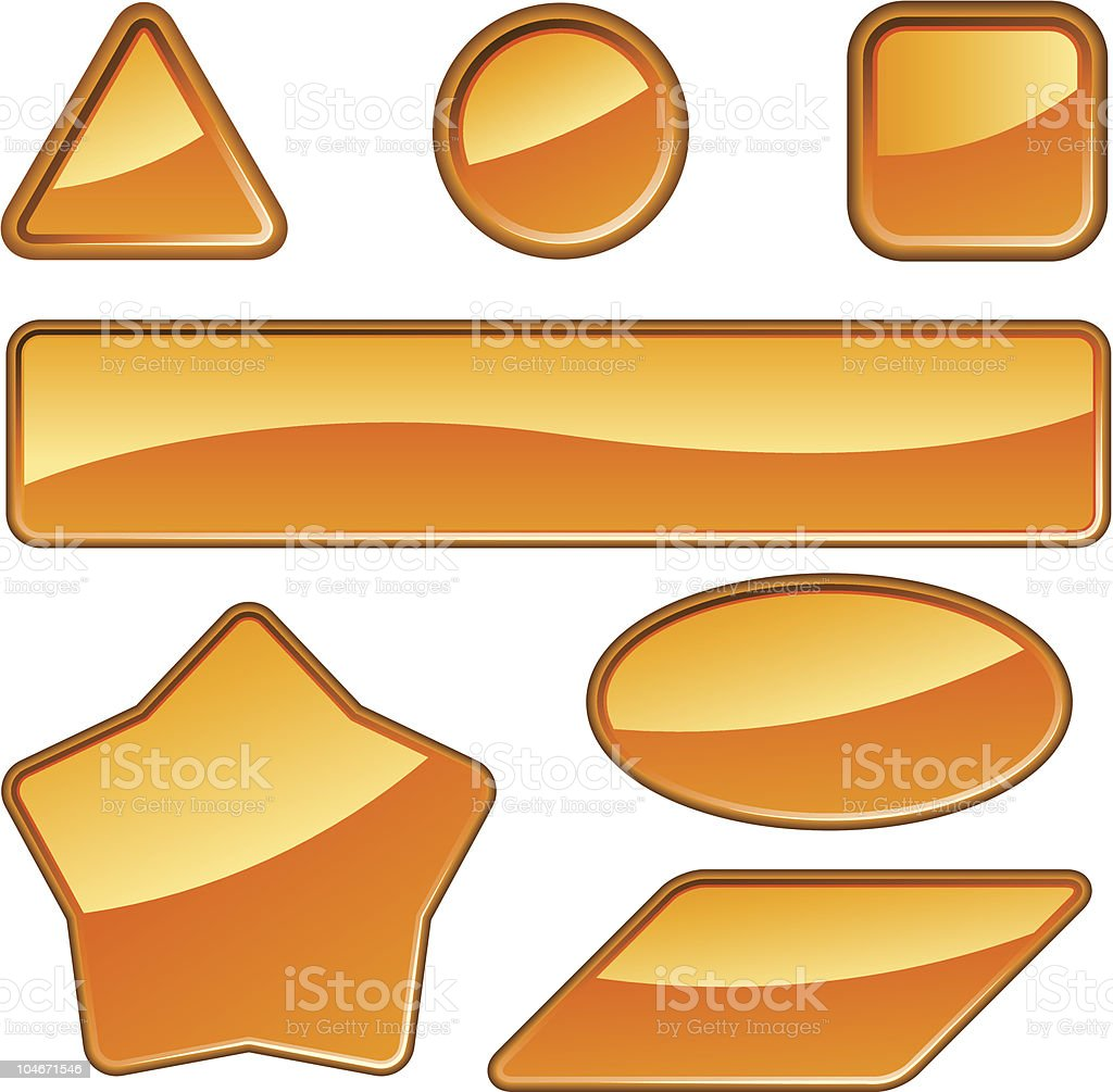 Glossy orange labels royalty-free stock vector art