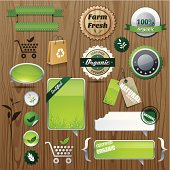 Glossy organic labels, badges and tags, each object is smartly grouped.