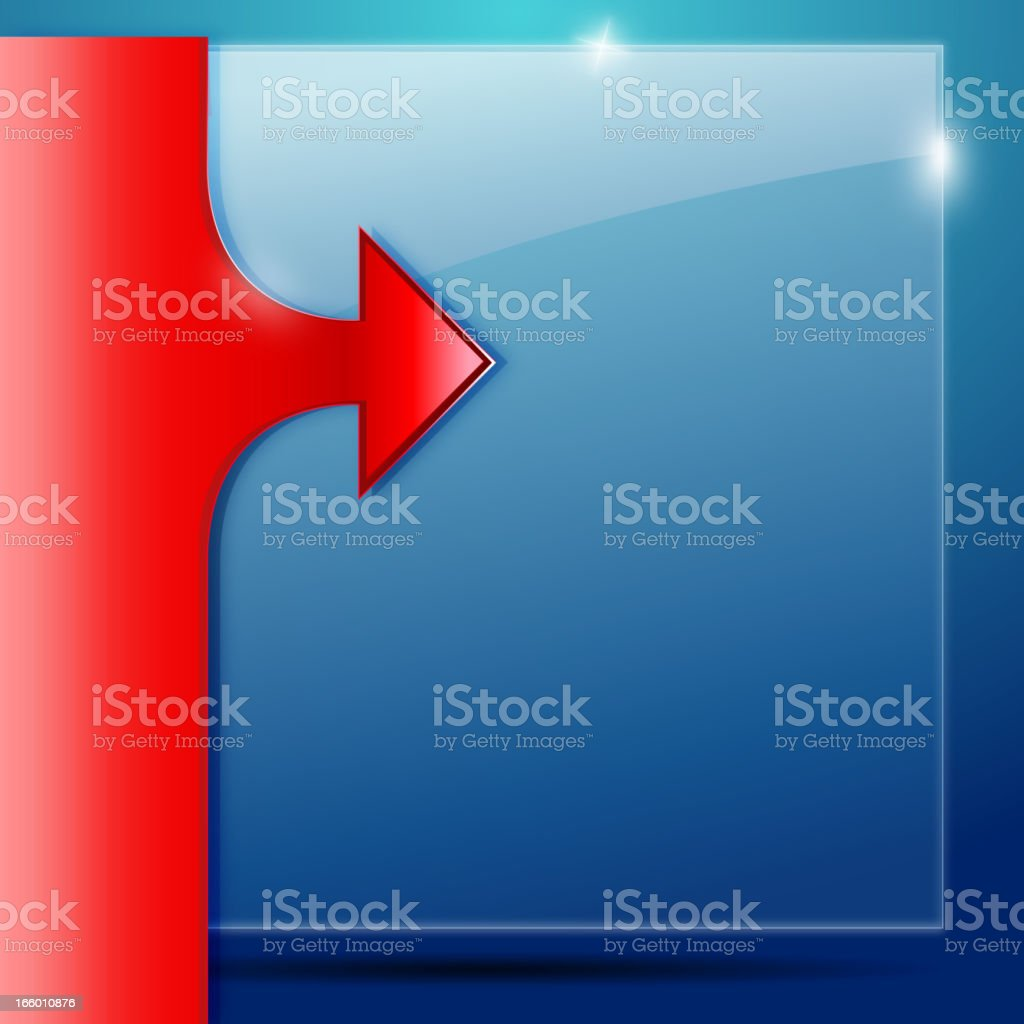 Glossy Panel with Red Arrow royalty-free stock vector art