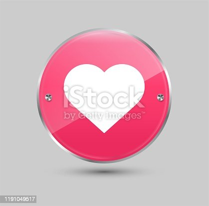 Glossy pink circle heart. Like and love symbol. Vector illustration.