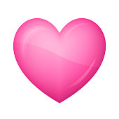 istock Glossy pink heart Icon on white background 904836366