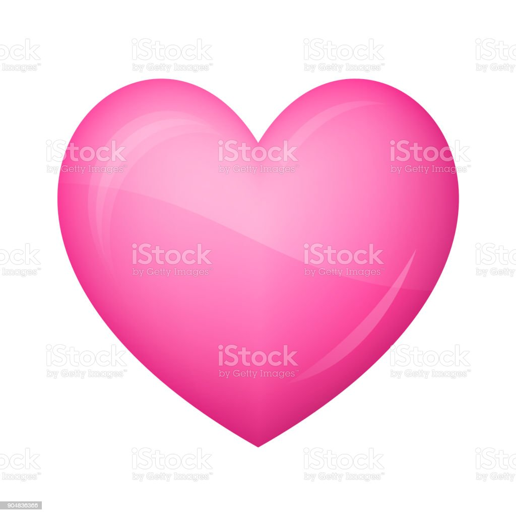 Glossy pink heart Icon on white background vector art illustration