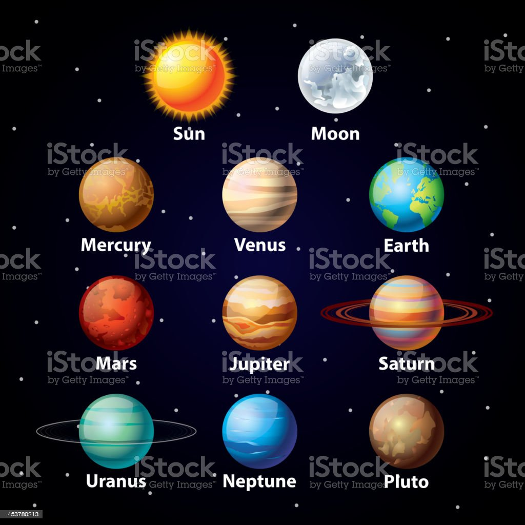 Glossy planets vector set vector art illustration