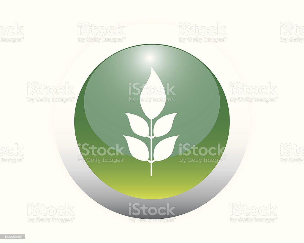 Glossy Plant Icon Button. royalty-free stock vector art