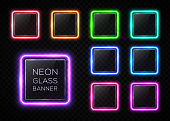 Glossy plastic texture banners set. Colorful square frames with led halogen lamp. Technology collection. Rectangle signs with blank text place on transparent background. Hud design vector illustration