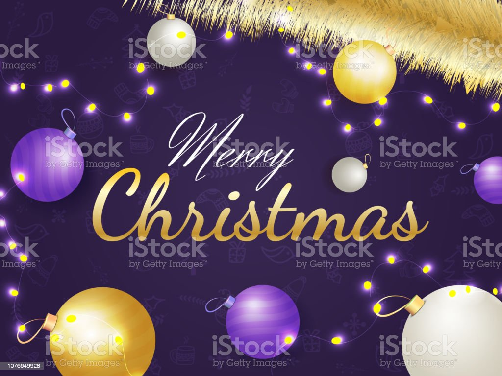 Schriftzug Frohe Weihnachten Beleuchtet.Glanzende Lila Poster Oder Grusskarte Mit Stilvollen