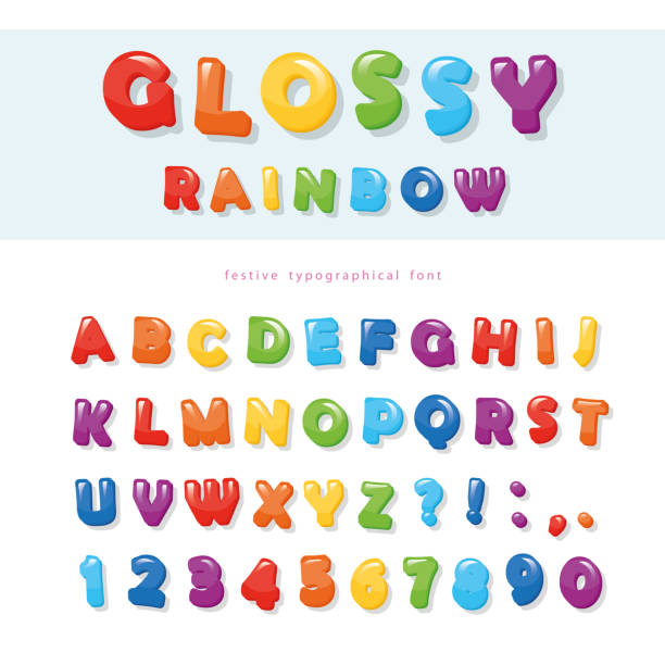 Glossy rainbow colored font design. Festive ABC letters and numbers. Glossy rainbow colored font design. Festive ABC letters and numbers. Vector illustration elementary age stock illustrations