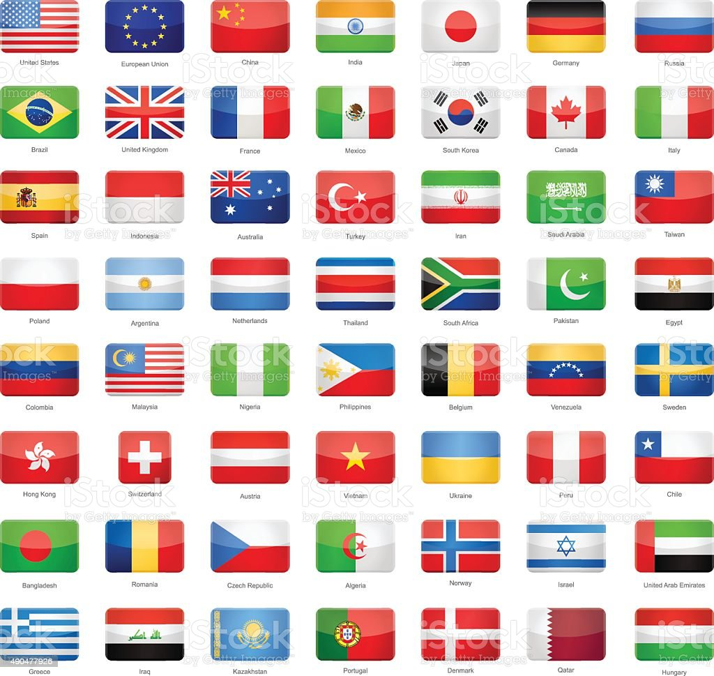 Glossy Rectangle Flags - Most Popular vector art illustration