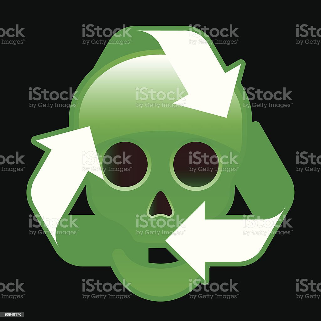 Glossy recycling icon with skull royalty-free glossy recycling icon with skull stock vector art & more images of arrow symbol