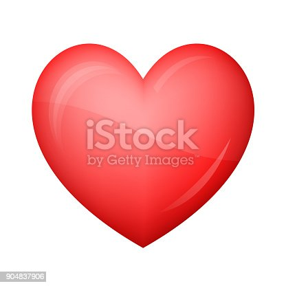 istock Glossy red heart Icon on white background 904837906