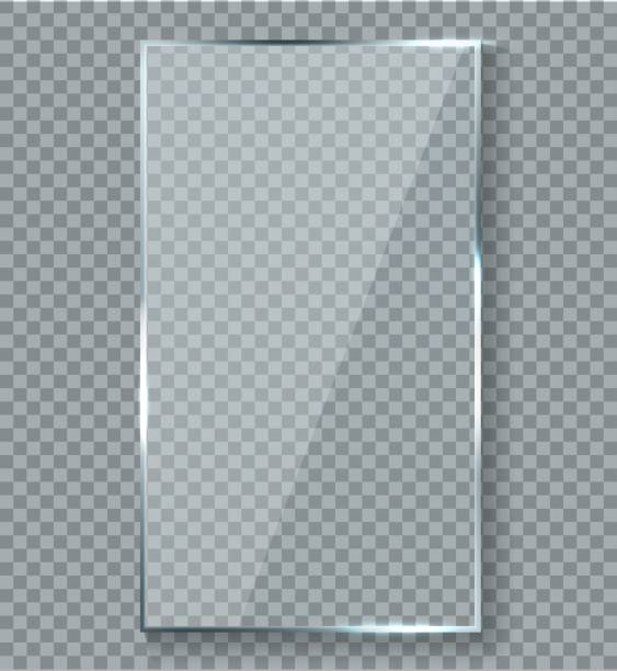 stockillustraties, clipart, cartoons en iconen met glanzend reflectie-effect. transparantie venster glas kunststof met heldertreflections plaque vector reflecterende textuur - acrylverf