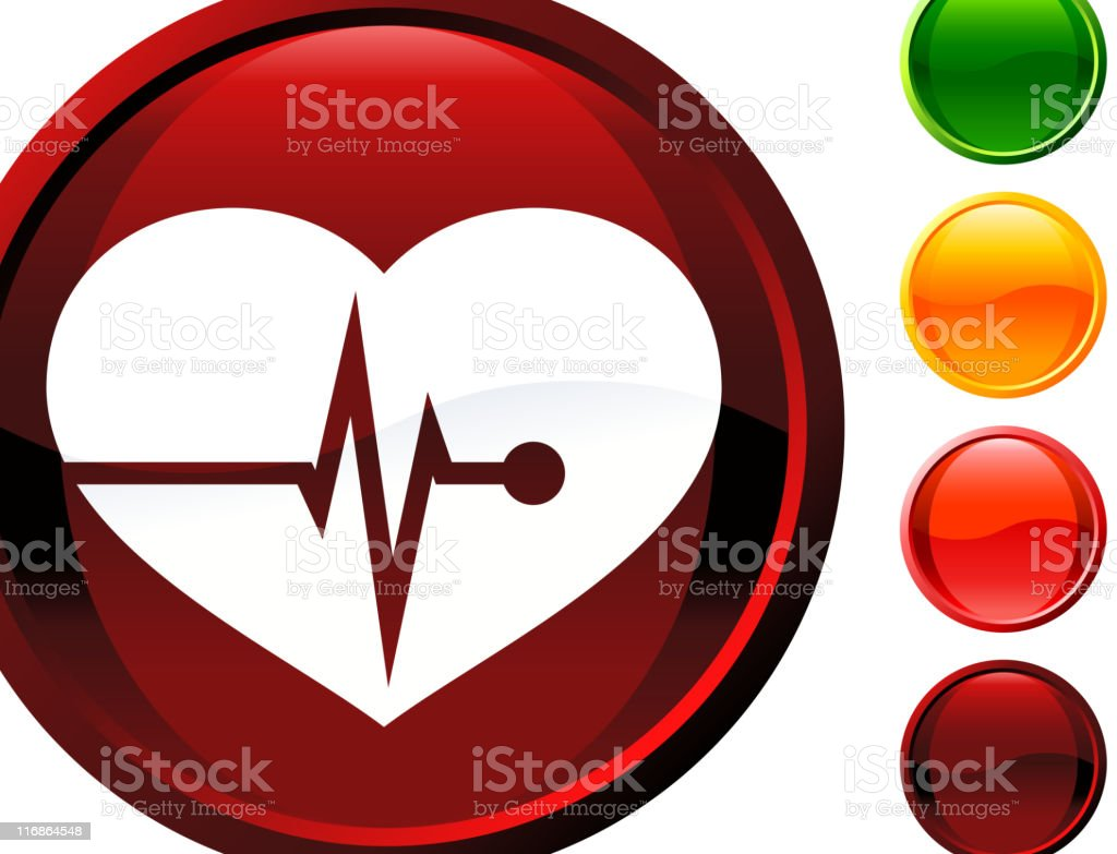 Glossy Round Button Icon Of Heartrate royalty-free stock vector art