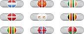 Glossy scoreboard with national flags of nine countries: Luxemburg, Macedonia, Ireland, Latvia, Cyprus, Belgium, Mali, Iceland, Belorussia