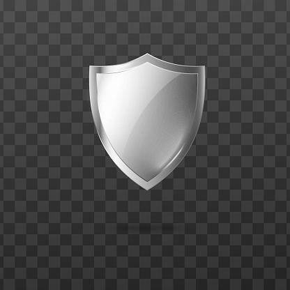 Glossy security metal or glass shield realistic vector illustration isolated.