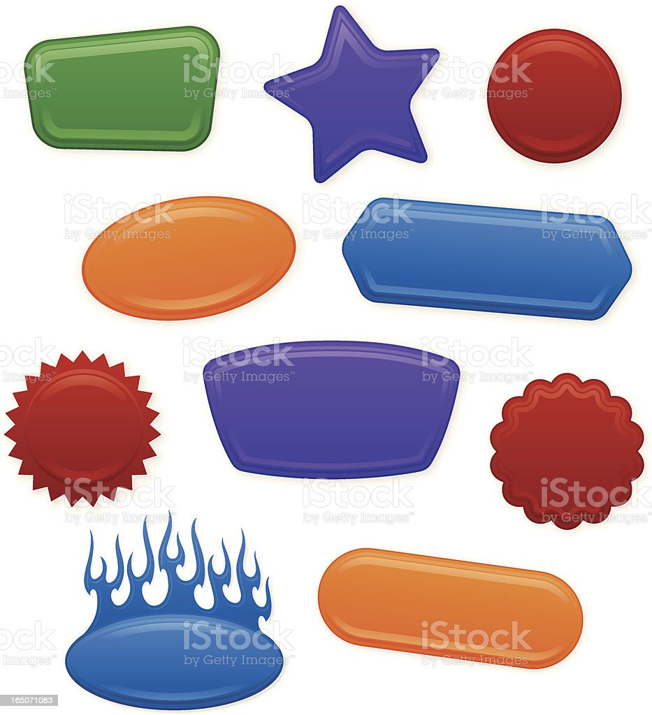 Glossy Shape Labels vector art illustration