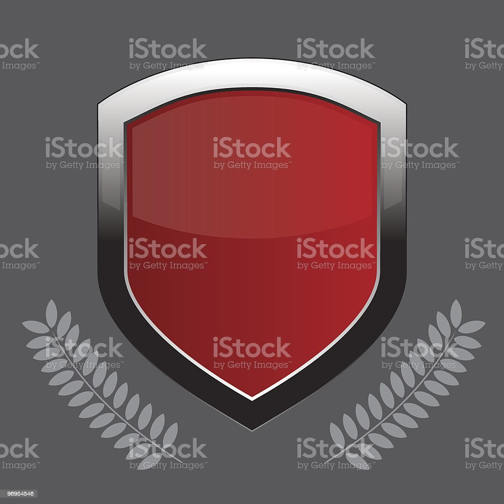 Glossy shield emblem over a gray background. royalty-free glossy shield emblem over a gray background stock vector art & more images of badge