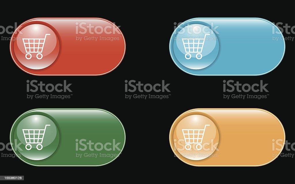 Glossy Shopping Cart Icons royalty-free stock vector art