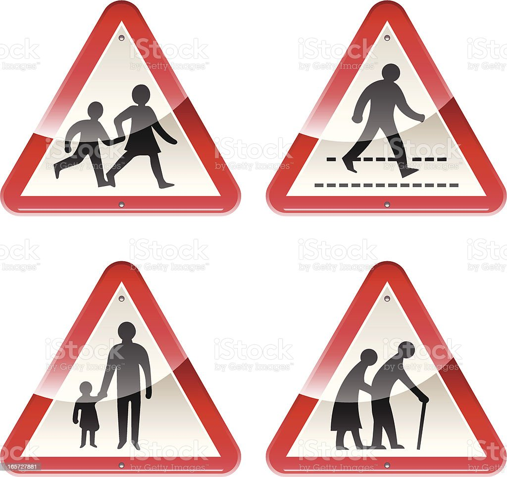 Glossy Signs: Caution People royalty-free stock vector art