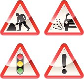 Set of cautionary road signs featuring road works with a glossy appearance.