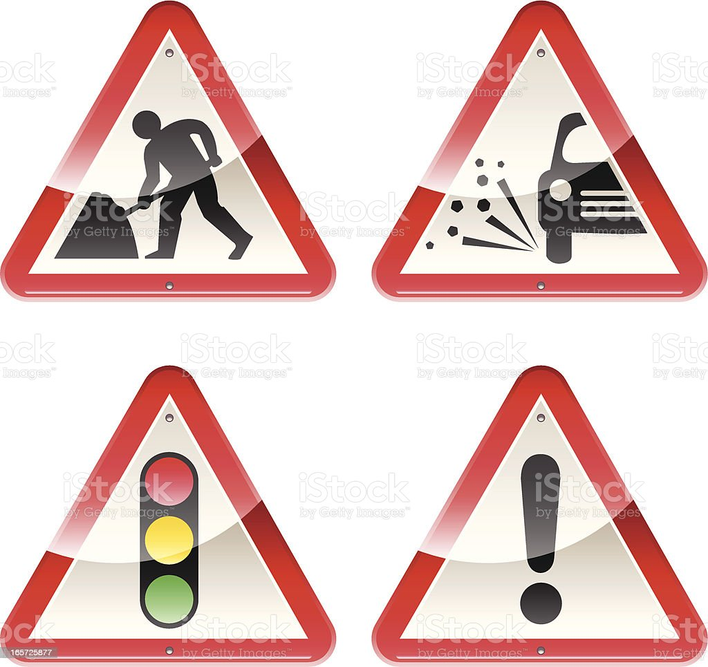 Glossy Signs: Caution Road Works vector art illustration