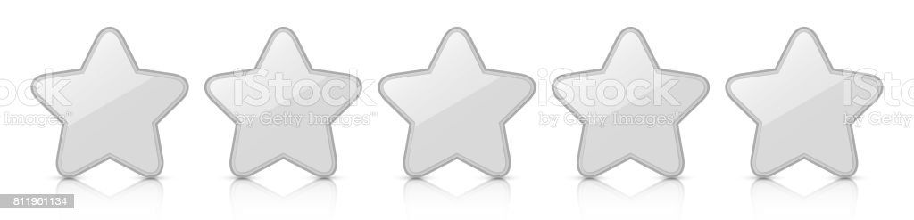 Glossy silver five star icon rating with reflection. vector art illustration