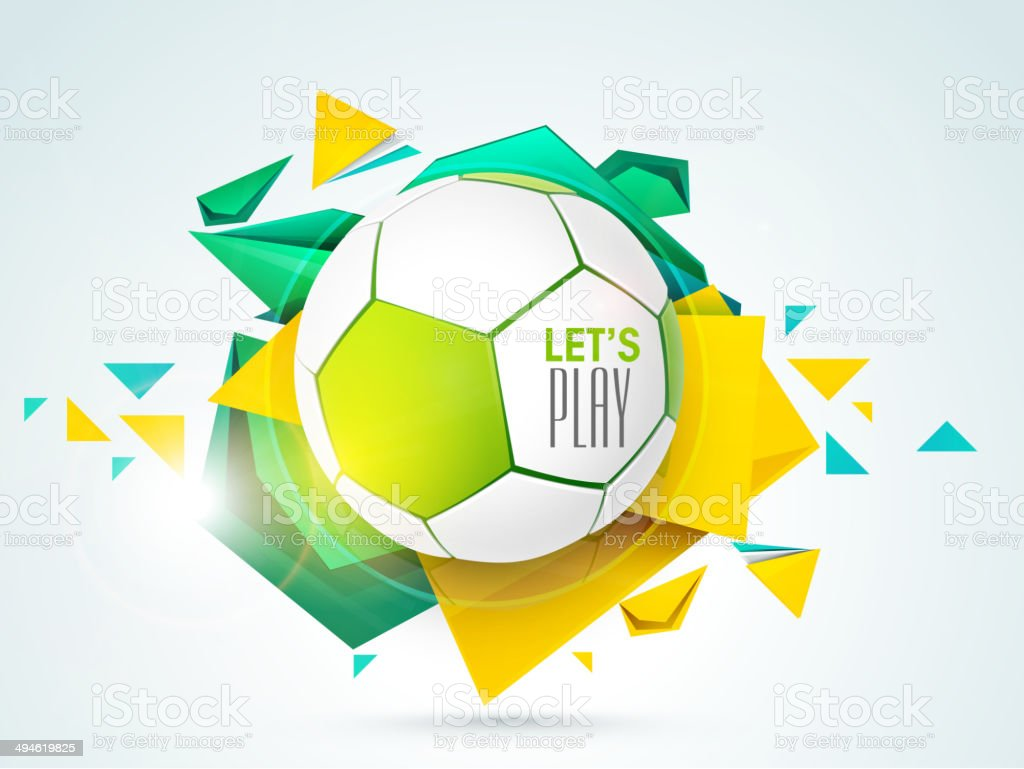 Glossy soccer ball on colorful abstract background. vector art illustration