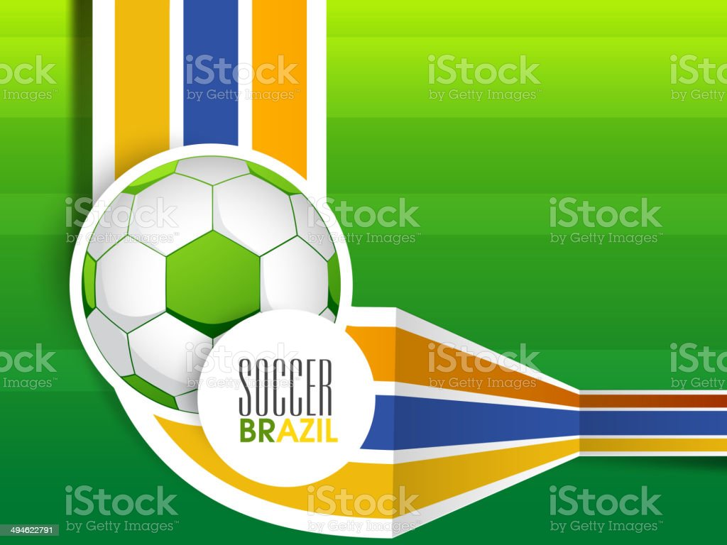 Glossy soccer ball with colorful stripes on green background. royalty-free glossy soccer ball with colorful stripes on green background stock vector art & more images of 2014