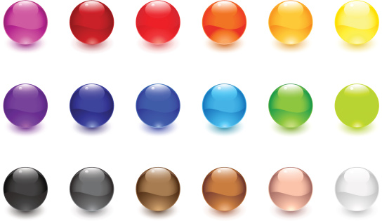 A set of glossy spheres.