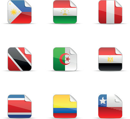 Glossy sticker of world flags collection