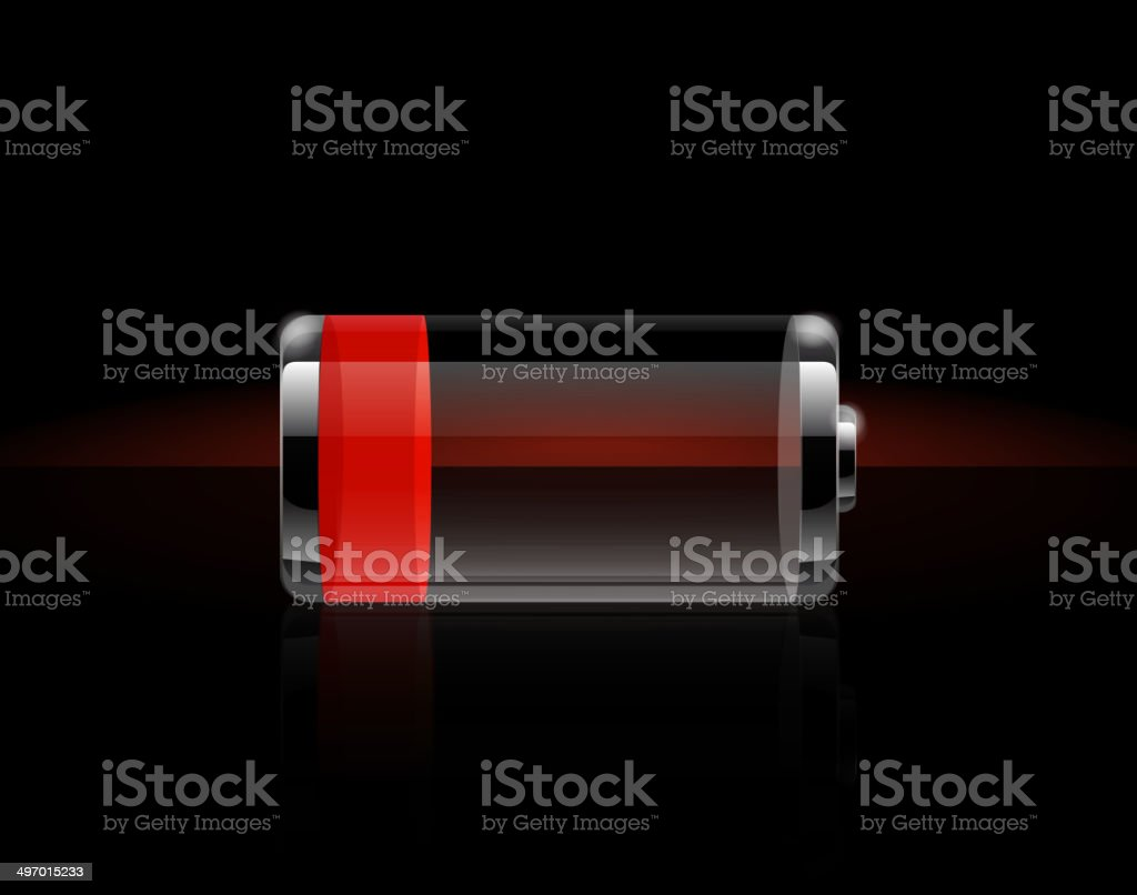 Glossy transparent battery icons vector art illustration