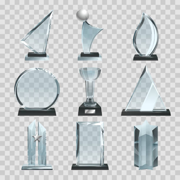 Glossy transparent trophies, awards and winner cups. Vector illustrations vector art illustration