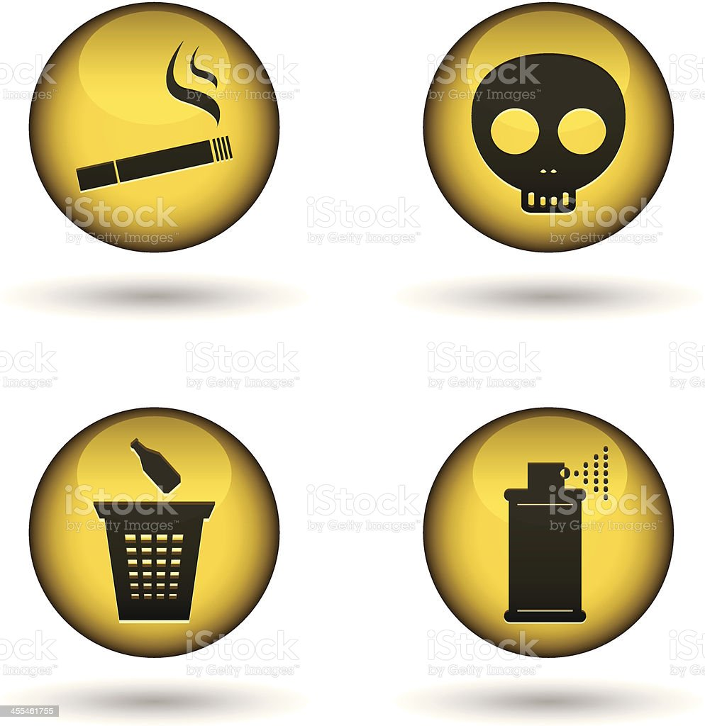 glossy warning balls vector art illustration