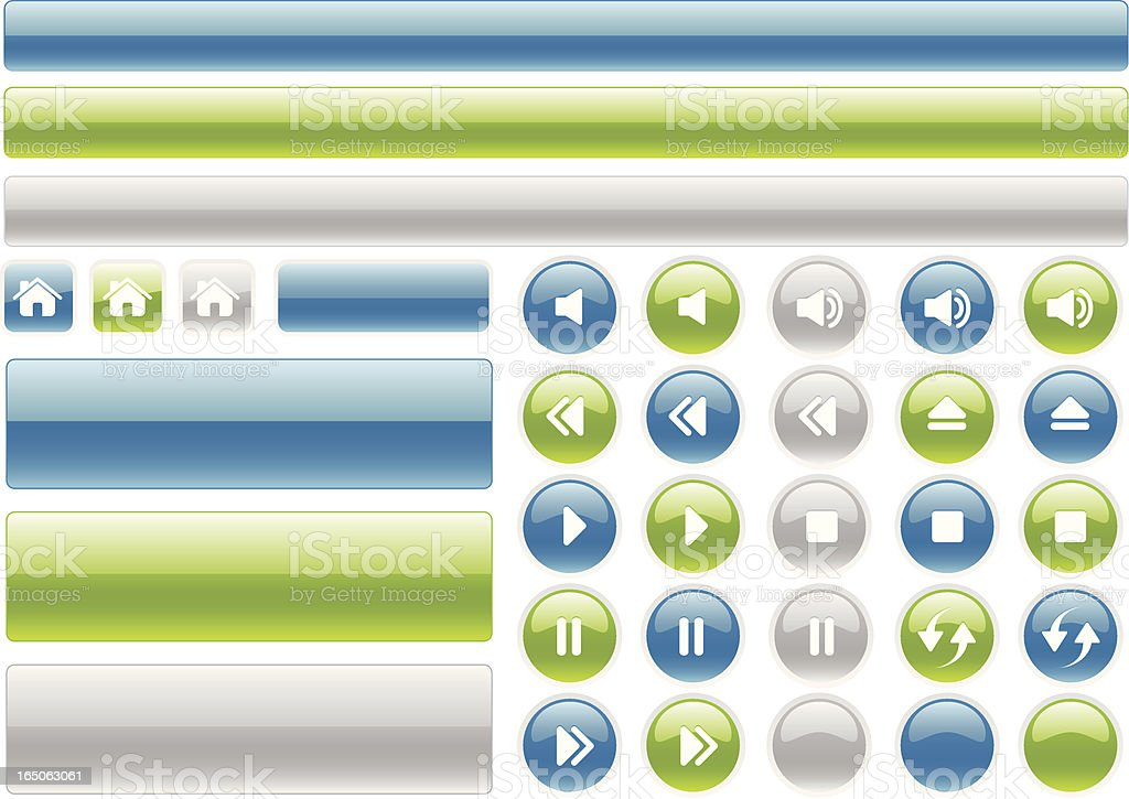 Glossy web buttons and music controls icons royalty-free stock vector art