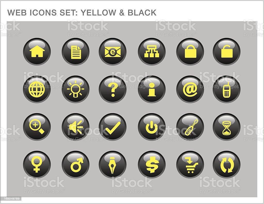 Glossy Web Icons Set: Yellow & Black vector art illustration
