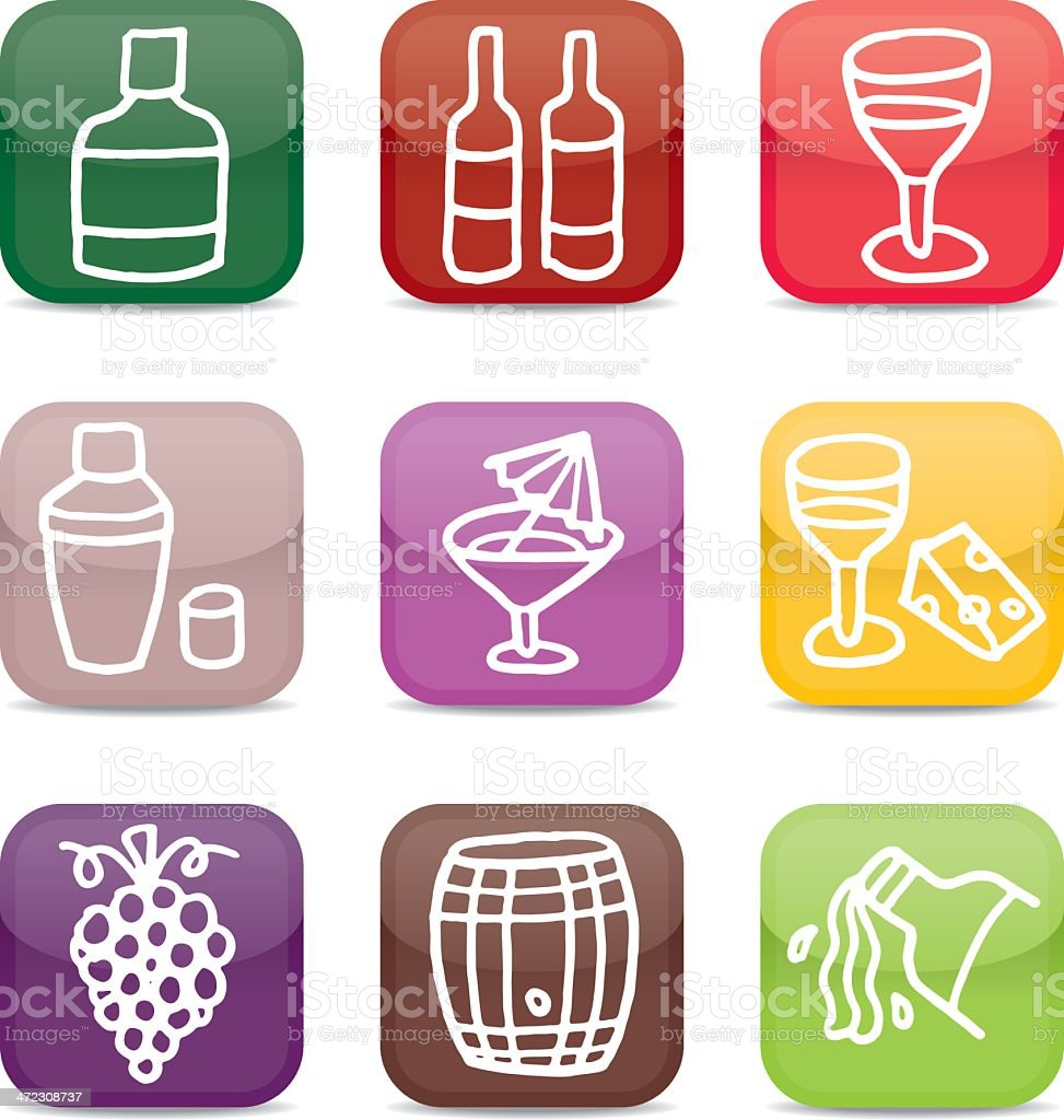 Glossy wine and alcohol icon set royalty-free stock vector art