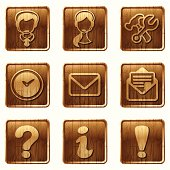 a set of 9 glossy wooden icons - you can use them in web