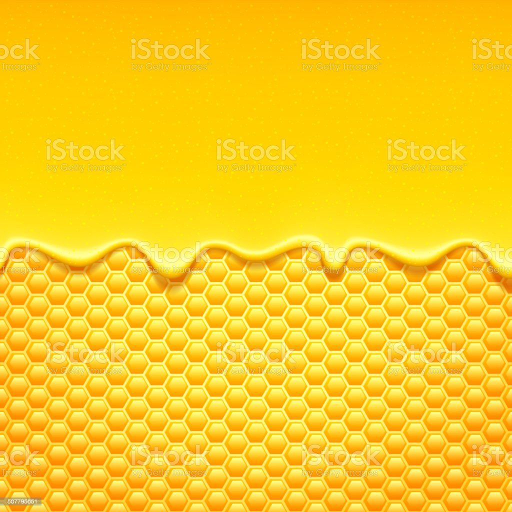 Glossy yellow background with honeycomb and sweet honey drips. vector art illustration