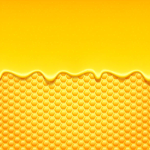 glossy yellow background with honeycomb and sweet honey drips. - honey drip stock illustrations, clip art, cartoons, & icons