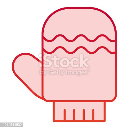 Glove color icon. Winter mitten item with waves symbol, gradient style pictogram on white background. Christmas holiday sign for mobile concept and web design. Vector graphics