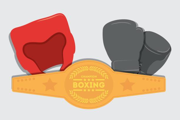 glove helmet belt  boxing desig vector art illustration