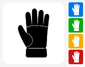 Glove Icon Flat Graphic Design