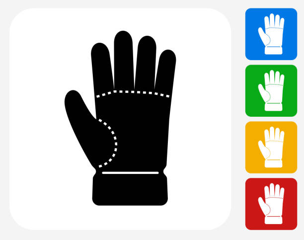 Glove Icon Flat Graphic Design Glove Icon. This 100% royalty free vector illustration features the main icon pictured in black inside a white square. The alternative color options in blue, green, yellow and red are on the right of the icon and are arranged in a vertical column. formal glove stock illustrations